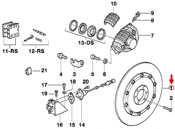 Original BMW Motorrad Bremsscheibe hinten ABS K100LT/RS/RT K75C/RT/S 2310305 NEU