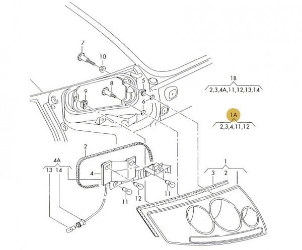 Original Audi TT 8N Rücklicht Schlusslicht Rückstrahler rechts 8N0945096
