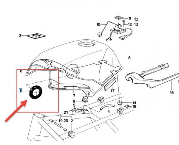 Orignal BMW Plakette Emblem 70mm Koffer Tank R1000RS K100 K1100 46637686746 NEU
