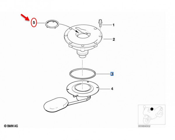 Original BMW Motorrad Dichtung für Tankverschluss oben R1100S/RS 7657172