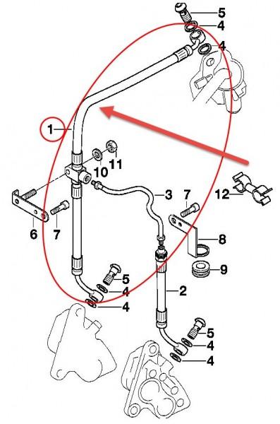 Original BMW Motorrad Bremsschlauch L=679MM R 1100 S 34327651553 NEU